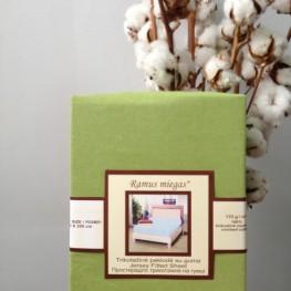 Простынь на резинке оливковая