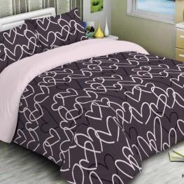 Комплект постельного белья сердечки бордо