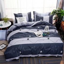 Комплект постельного белья синий в полоску