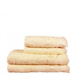 Полотенце махровое кремовое с рисунком, 50х90 см