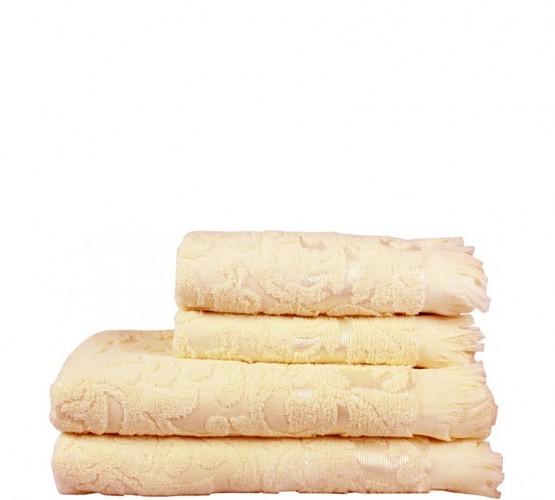 Полотенце махровое кремовое с рисунком, 50х90 см () фото 1
