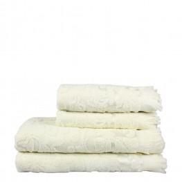 Полотенце махровое белое с рисунком, 50х90 см
