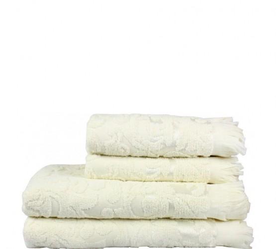 Полотенце махровое белое с рисунком, 50х90 см () фото 1