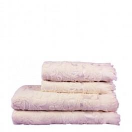 Полотенце махровое розовое с рисунком, 50х90 см