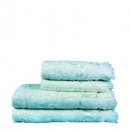 Полотенце махровое голубое с рисунком, 50х90 см
