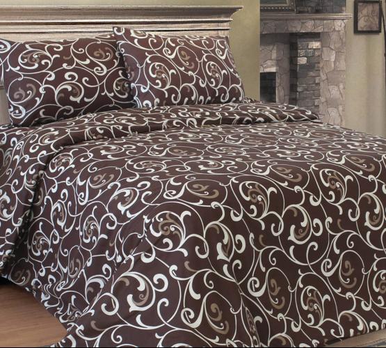 Комплект постельного белья с коричневым  узором, бязь Голд () фото 1